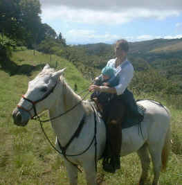 horseback with 3 month daughter tara