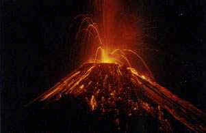 Arenal Volcano Costa Rica - lava flow at night